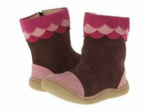 NIB LIVIE & LUCA Shoes Boots Cozette Suede Leather Mocha Brown Pink Toddler 4