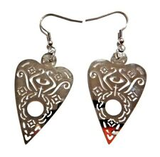 METAL OUIJA BOARD PLANCHETTE EARRINGS silver cutout mystic game occult gothic 4C