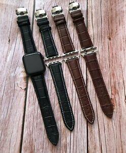 Watch Strap in Alligator Grain Band Designed for Apple Watch 6 Deployment Clasp