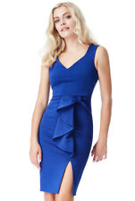 Blue Bow Detail Midi Dress With Split Cocktail Christmas Party Dress (8-16)