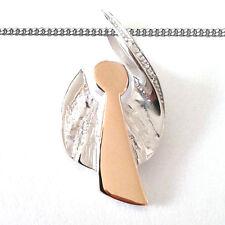 Mädchen und Frauen freischwingender Engel Anhänger Silber 925 Rosègold + Kette