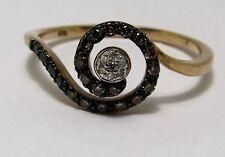 100% Genuine Vintage 9ct Solid Yellow Gold Multi-colour Diamond Ring Sz 8.5