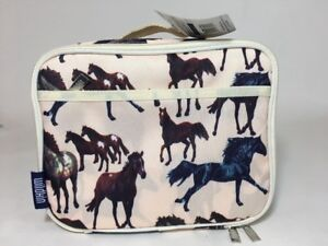 Wildkin School Lunchbox With Horses Soft Padded Zippered Lunch Container