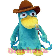 "Phineas and Ferb Perry the Platypus 16"" Plush Backpack Agent P, NEW"