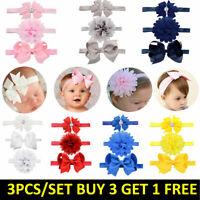 Baby Girl Headband Ribbon Elastic Headdress Kids Newborn Hair Band Bow 3pcs set
