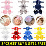 Baby Girl Headband Ribbon Elastic Headdress Kids Newborn Hair Band Bow 3pcs set