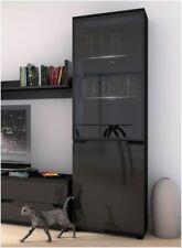 Madeira High Gloss Black Tall Glass Display Cabinet Unit Lounge Furniture