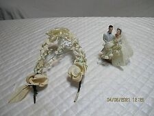 "Vtg 1950's Ceramic Wedding Couple Cake Topper 5"" w Gazebo 7"""
