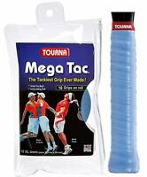 TOURNA GRIP MEGA TAC - TACKY PU COATED OVERGRIP - 10 TRAVEL POUCH BLUE GRIPS