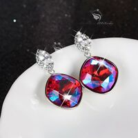 18k white gold made with fuchsia Swarovski crystal stud dangle drop earrings