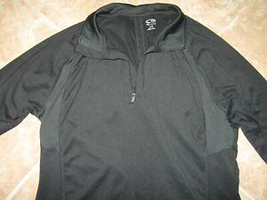 Womens Champion Activewear Jacket Size Large Pullover 1/4 Zip Black Lightweight