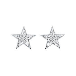 14K White Gold FN 925 Silver Screw Back 0.40 Ct Star Stud Earrings For Women's