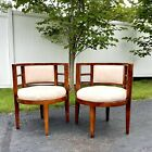Vintage MCM Barrel Chairs Set Of 2 Danish Modern Cherry Wood Cream Upholstery