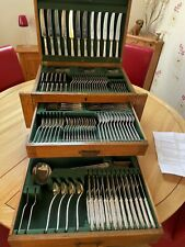 More details for silver plated137 piece canteen of cutlery in solid oakbox - in good condition
