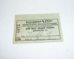 1938 Baltimore & Ohio Train Ticket Stub Coach No. 2588