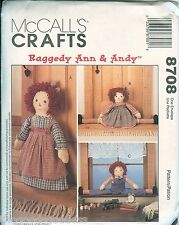 """McCalls 8708 RAGGEDY ANN ANDY Doll 16"""" draftbusters 20"""" doorstop pattern UNCUT"""