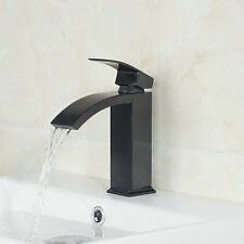 Bathroom Single Lever/hole Taps Black Painting Waterfall Mixer Basin Sink Faucet