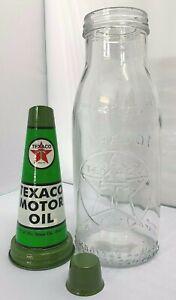 Old Style - 1 Quart Glass Texaco Oil Bottle, Metal Pourer & Cap.