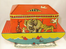 NOAH'S  ARK  RARE TOY BOAT LARGE BRITISH BISCUIT CANDY TIN  c1925
