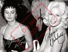8.5x11 Autographed Signed Reprint RP Photo Jayne Mansfield Sophia Loren Sexy