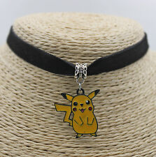 Cute Pikachu Pokemon Oil Painted  Pendant Jewelry Choker Collar Bib Necklace#01