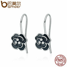 Bamoer S925 Sterling silver Stud Earrings hook With Retro Rose For Women Jewelry