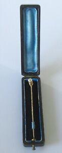 Gold Diamond Pin - Vintage 9ct Gold Old Cut Diamond Tie Pin (Boxed)