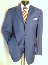 """ENZO COLLECTION 2PC Suit Solid Blue 3Button 44LPants W39 1/2""""/ 31 1/2L super 140"""
