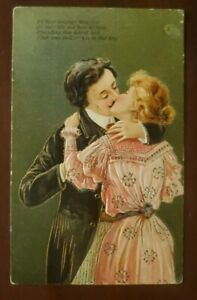 Love Romantic Vintage Embossed Postcard