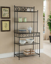 Kings Brand Furniture - Metal with Marble Finish 5-Tier Bakers Rack, Black