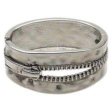 Zipper Cuff Bracelet Hinged Bangle Antiqued Silver Steampunk 7-1/2 inch Jewelry