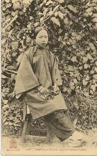CARTE POSTALE ASIE VIETNAM TONKIN FEMME CHINOISE FUMANT LA PIPE