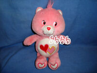 "Care Bears Glows in the Dark Stuffed LOVE A LOT BEAR 11"" Pink Plush Heart 2004"