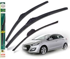 "HYUNDAI i30 2012-2017 replacement set of 3 wiper blades HYBRID 26"" 14""13""X"