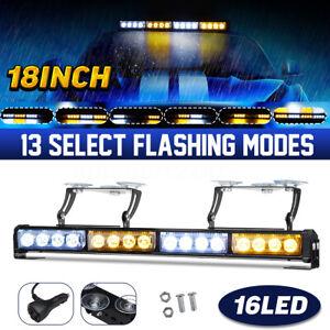 18'' 16LED Emergency Warning Car Strobe Flash Light Bar Traffic Amber & White