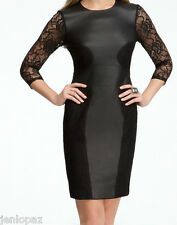 NWT BEBE Genuine Leather Sexy black lace cutout back top dress contrast S small
