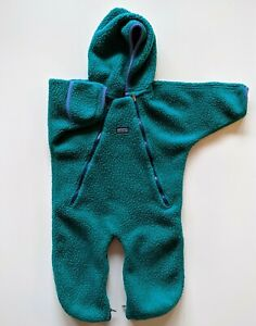 Vintage Patagonia Teal Double Leg Zip Front Baby Bunting Fleece Size 12 Months