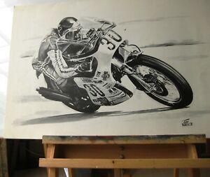 Vintage Motorcycle Artwork- Slippery Sam c. 1970 Percy Tait, Trident Racer NOS