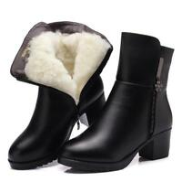 Womens Fur Lined Snow Ankle Boots Winter Warm Round Toe Block Heels Shoes New