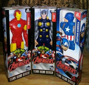 "Captain America Iron Man Thor Titan Hero Series 12"" Action Figures Marvel NEW"