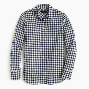J.Crew Relaxed boy shirt in crinkle gingham Classic Navy Size 00 item #C6086 J