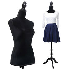 Black Female Mannequin Torso Dress Form Display W/ Black Tripod Stand New