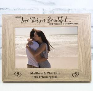 Personalised Wedding Photo Frame Engagement Anniversary Gift Valentines Day