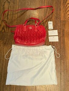 COACH   NEW YORK   MINI NOLTA SATCHEL BAG   RED GATHERED LEATHER   NEW RRP $640