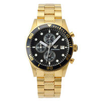 BRAND NEW Emporio Armani Gold Chronograph Black Dial Stainless Mens Watch AR5857