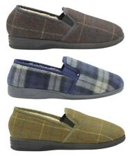Men's Dunlop Check Warm  Faux Fur Lined Twin Gussets Outdoor Sole House Slippers