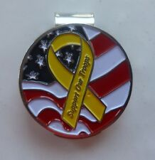 """Support Our Troops Yellow Ribbon USA Flag 1"""" Golf Ball Marker 2 sided & Hat Clip"""