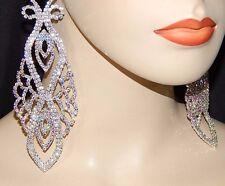 "BIG Silver Clear AB Rhinestone Waterfall Earrings Clip On Drag Queen 6""  E09"
