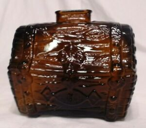"""VINTAGE BROWN GLASS TREASURE CHEST FIGURAL BANK 5"""" TALL, MINT"""