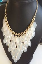 """Carole Opaque White Marquise Beads Beaded Statement Necklace Goldtone 22"""" $24"""